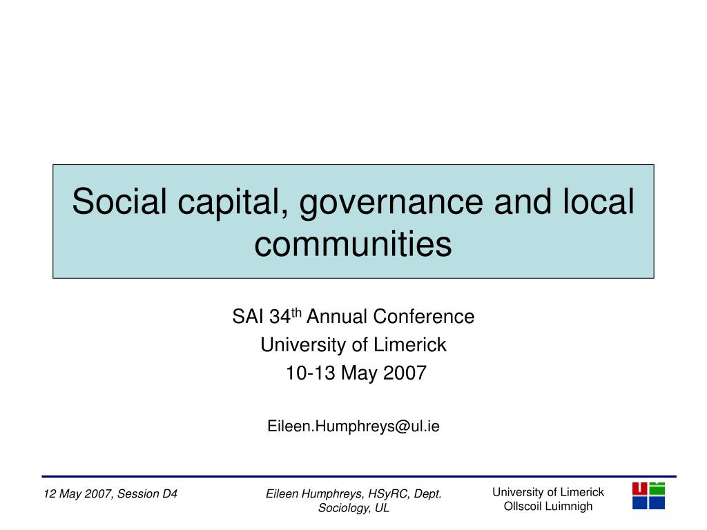 Social capital, governance and local communities
