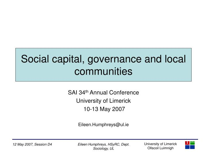 Social capital governance and local communities