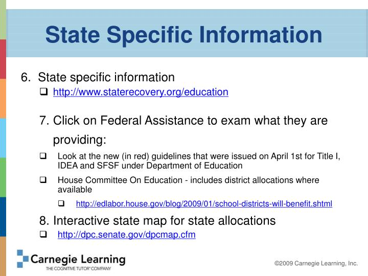 State Specific Information
