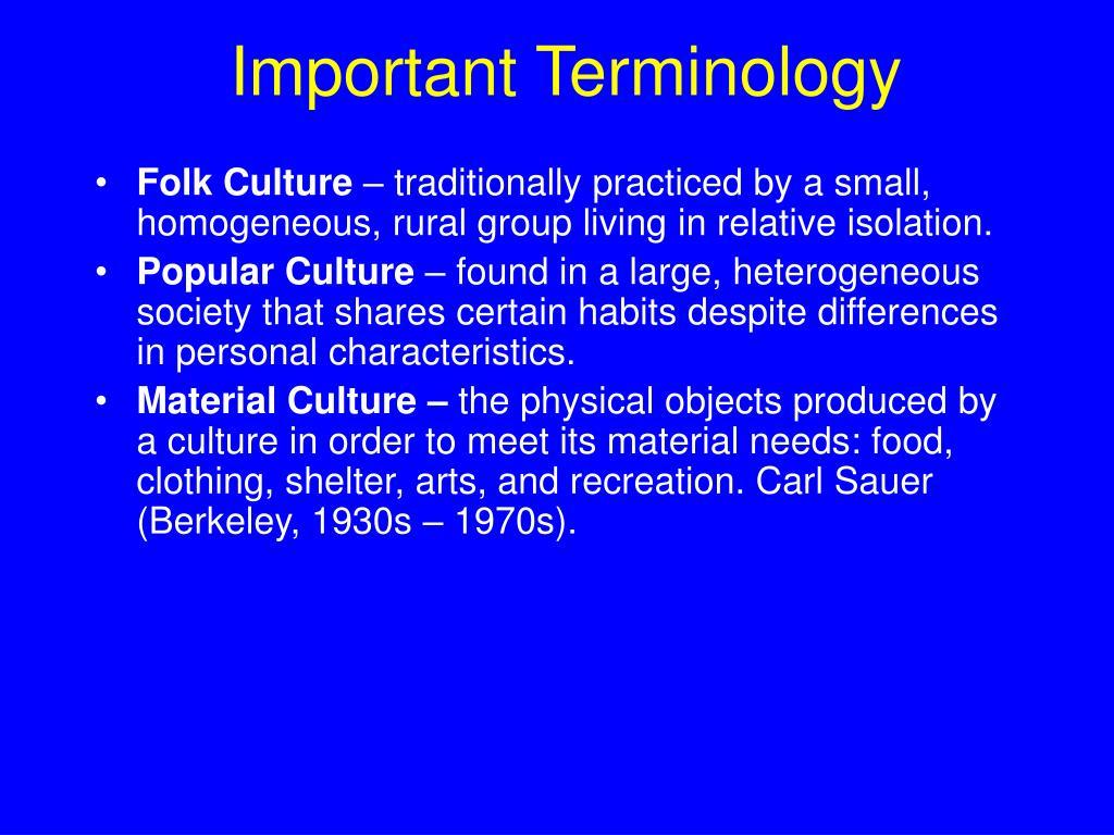 Important Terminology