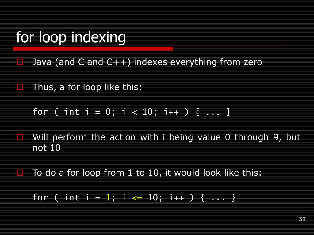 for loop indexing