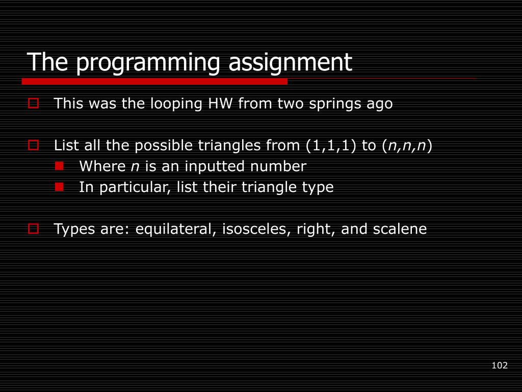 The programming assignment
