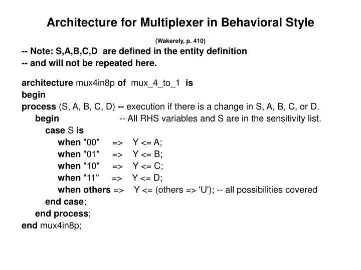 Architecture for Multiplexer in Behavioral Style