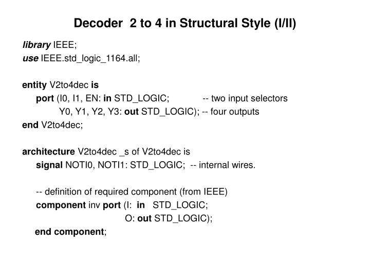 Decoder  2 to 4 in Structural Style