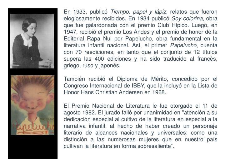 En 1933, publicó