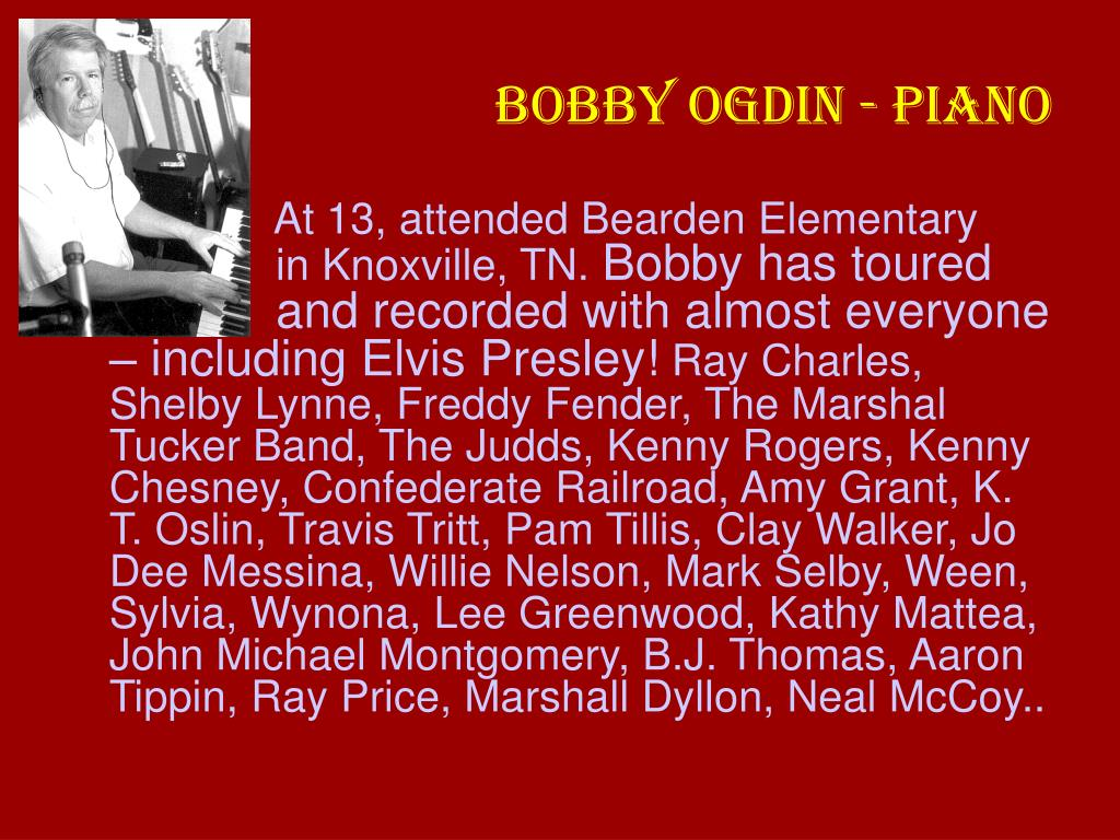 BOBBY OGDIN - PIANO