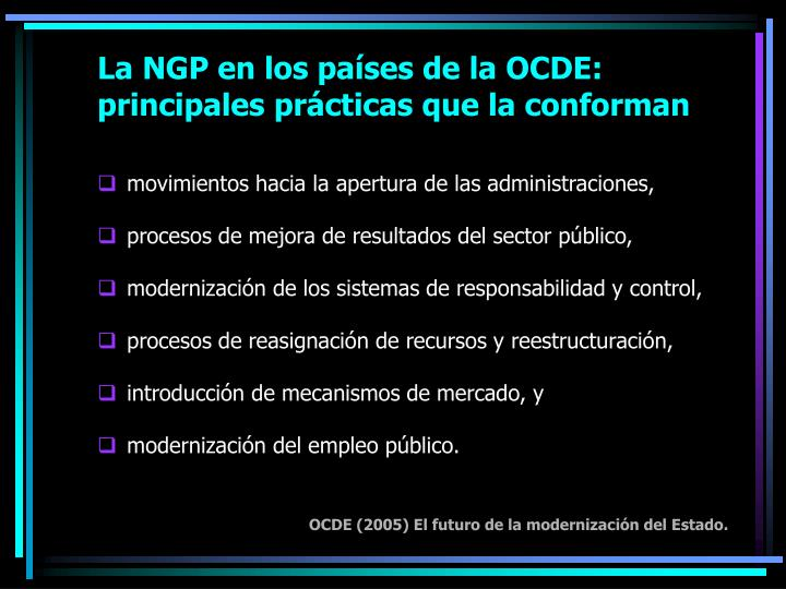 La NGP en los países de la OCDE: principales prácticas que la conforman