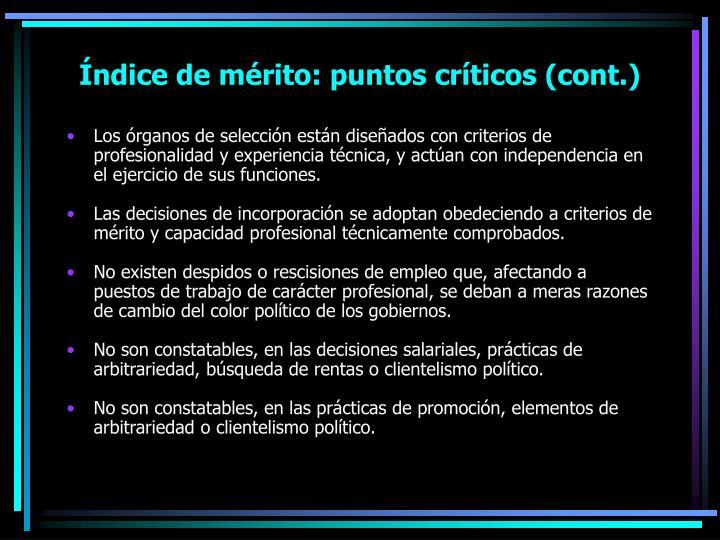 Índice de mérito: puntos críticos (cont.)