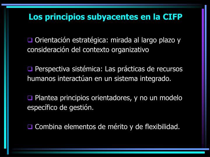 Los principios subyacentes en la CIFP