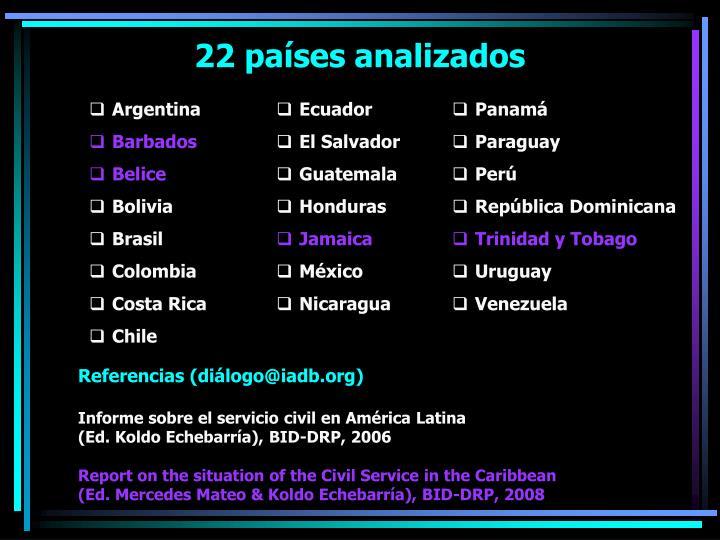 22 países analizados