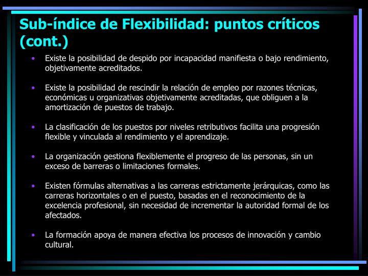 Sub-índice de Flexibilidad: puntos críticos (cont.)
