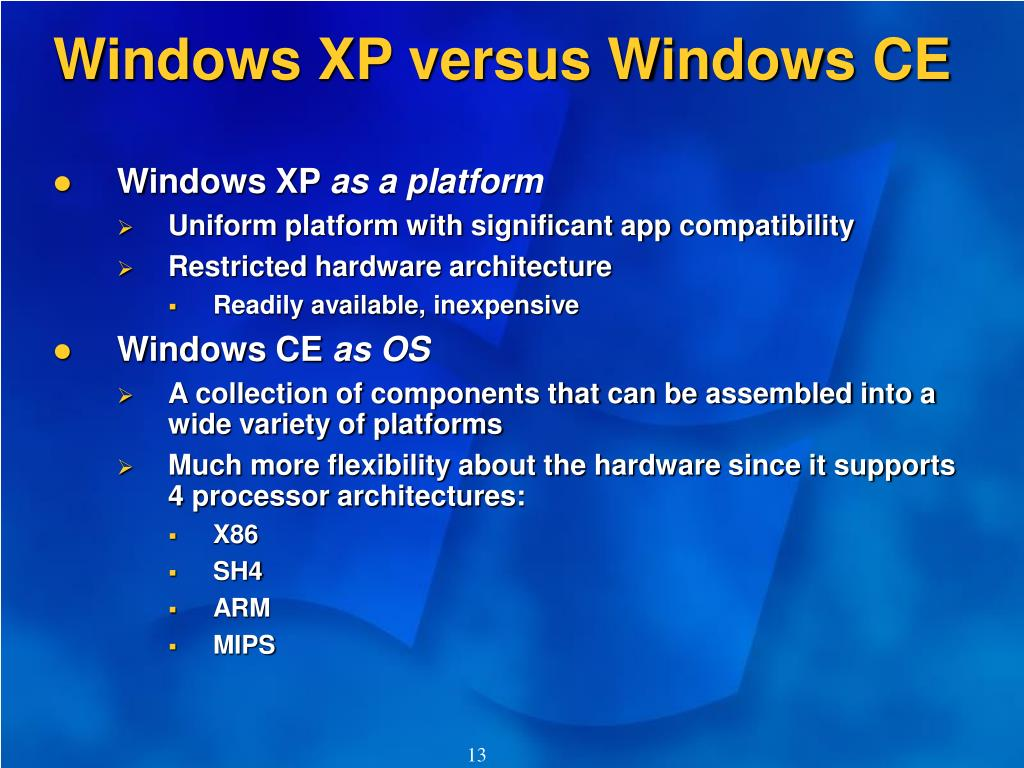 Windows XP versus Windows CE