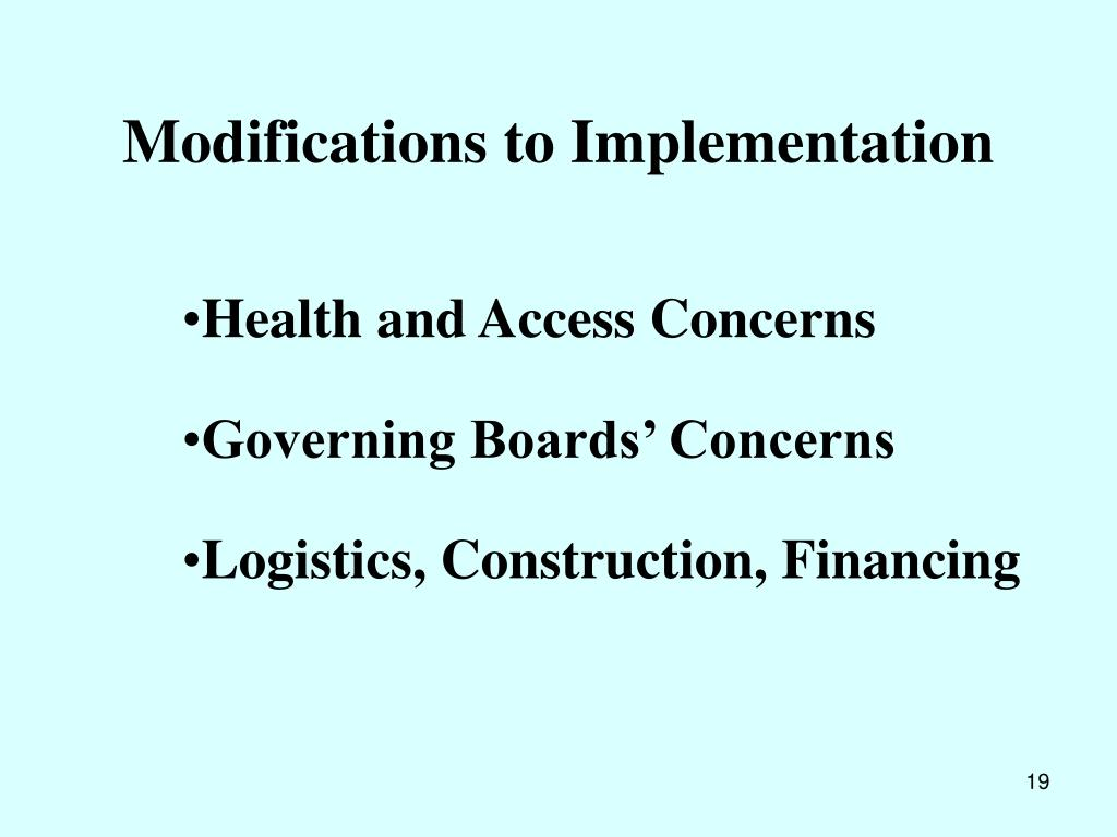 Modifications to Implementation