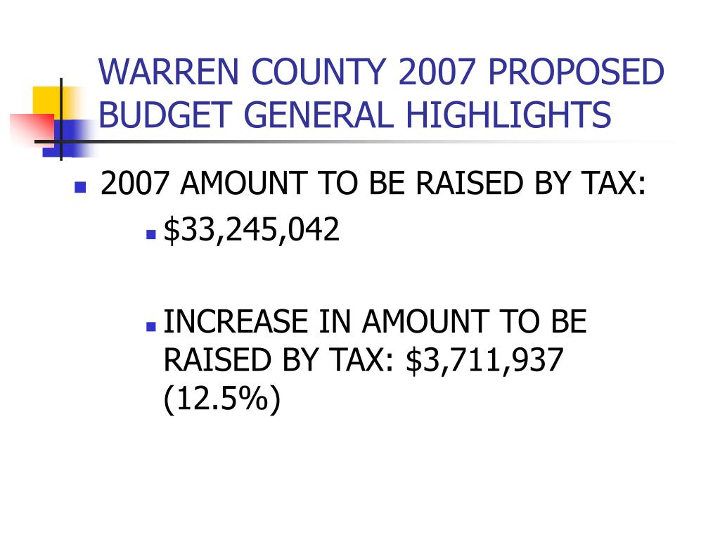 WARREN COUNTY 2007 PROPOSED BUDGET GENERAL HIGHLIGHTS