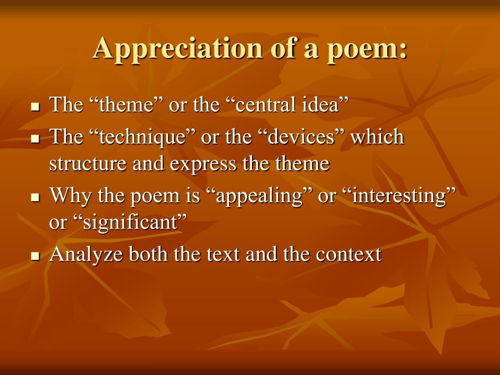 Appreciation of a poem: