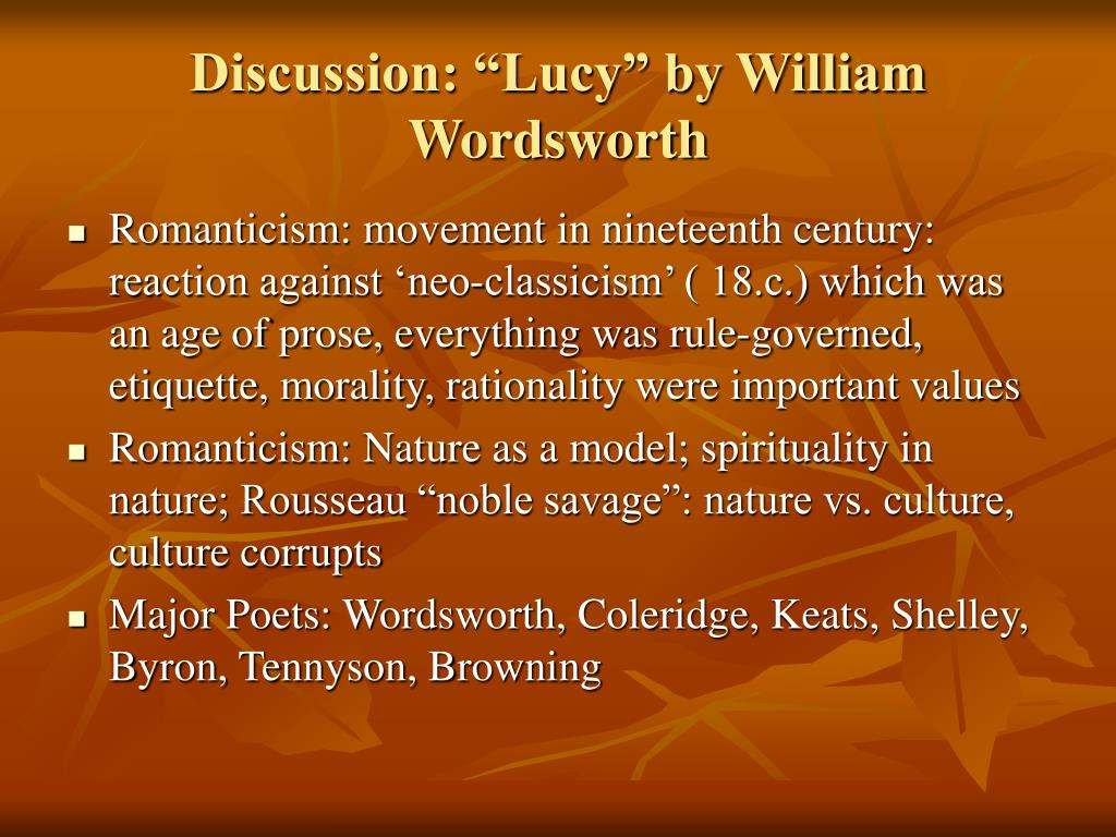 """Discussion: """"Lucy"""" by William Wordsworth"""