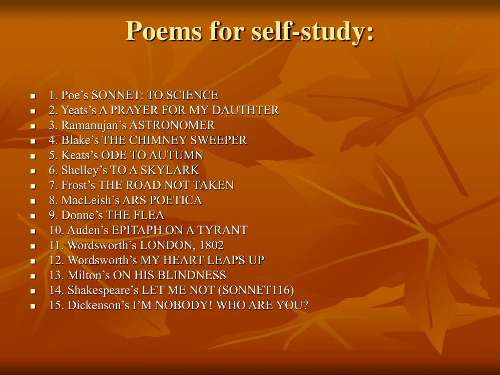 Poems for self-study: