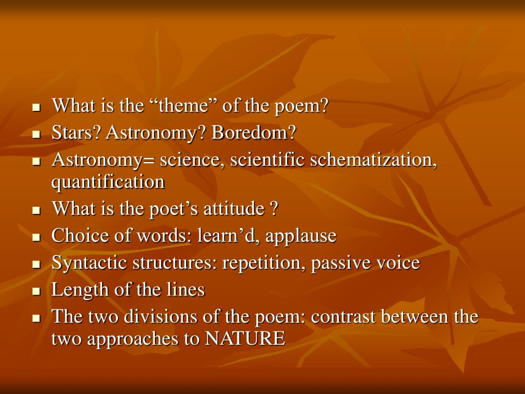 """What is the """"theme"""" of the poem?"""