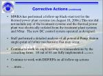 corrective actions continued