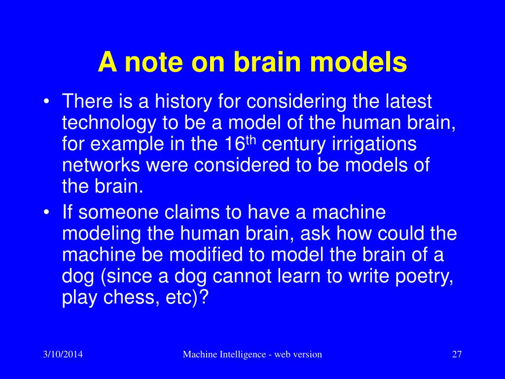 A note on brain models
