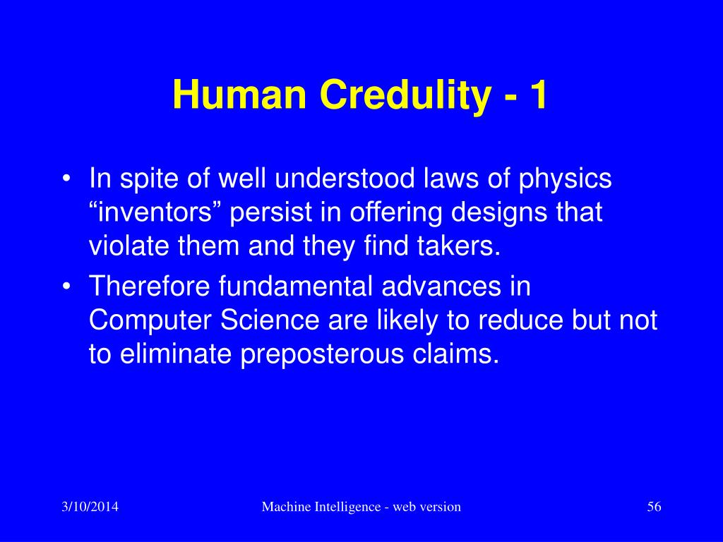 Human Credulity - 1