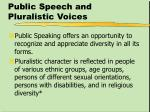 public speech and pluralistic voices
