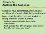 giving it a try analyze the audience