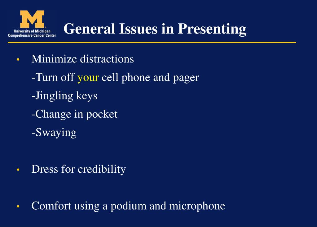General Issues in Presenting