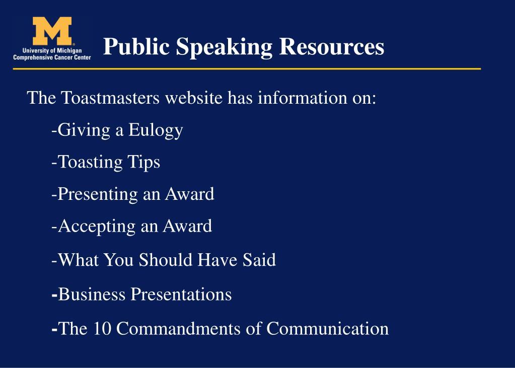 Public Speaking Resources
