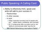 public speaking a calling card