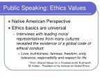 public speaking ethics values