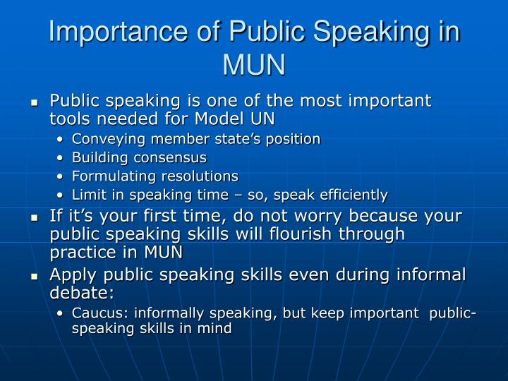 Importance of public speaking in mun