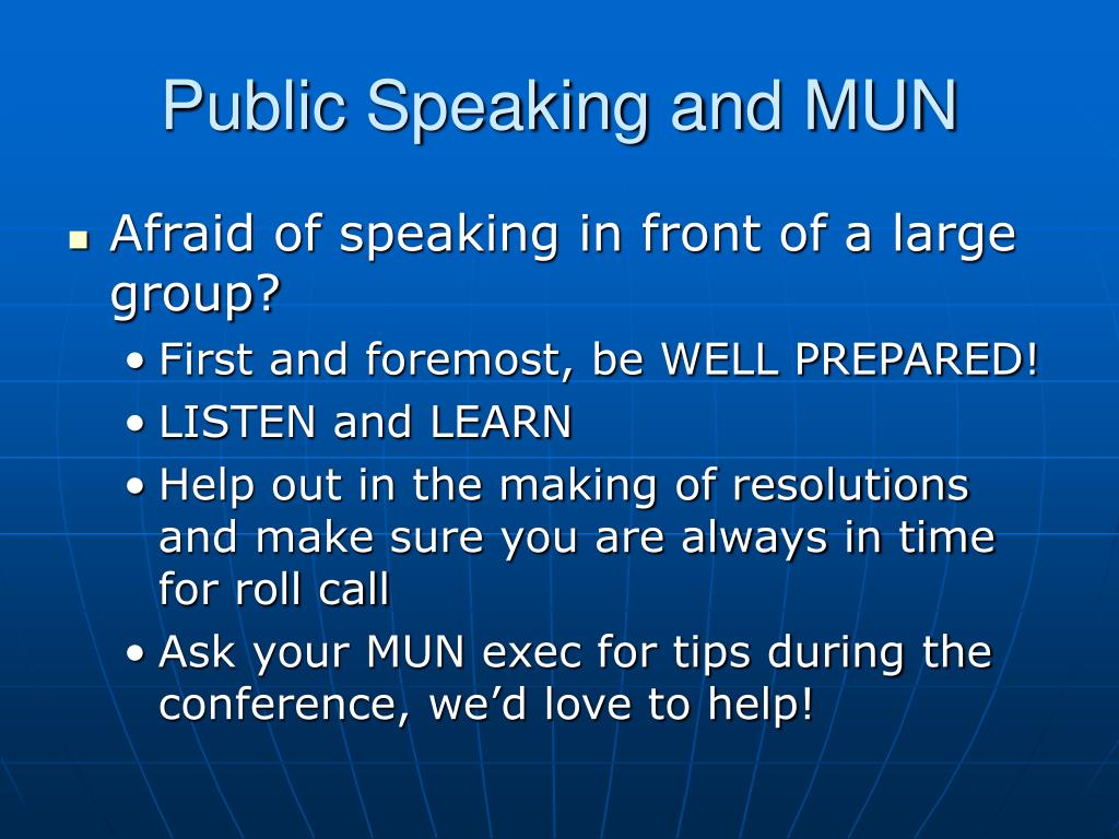 Public Speaking and MUN