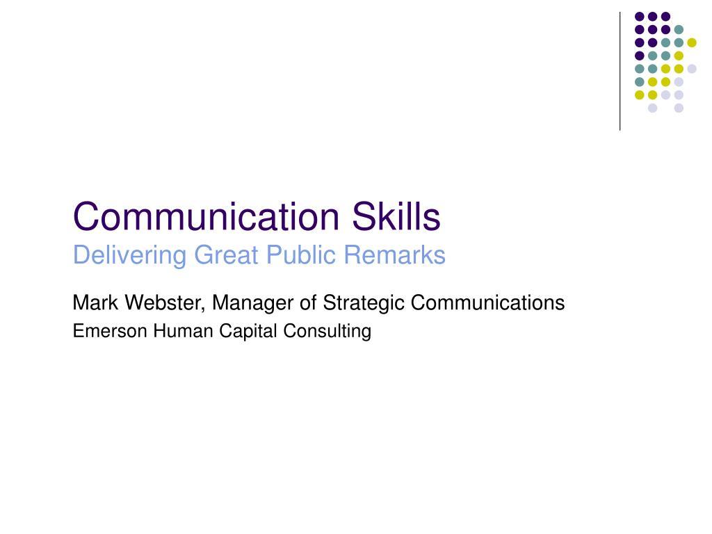 communication skills delivering great public remarks