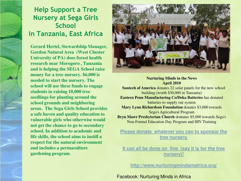 help support a tree nursery at sega girls school in tanzania east africa l.