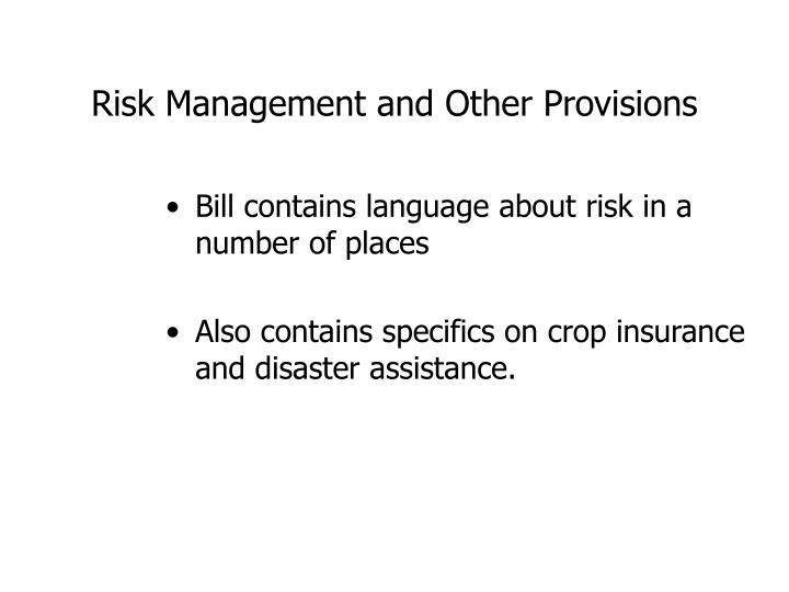 Risk management and other provisions3