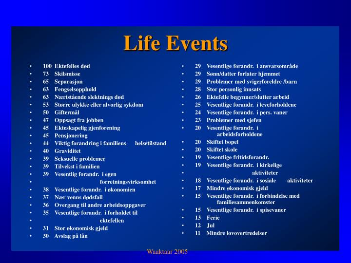 Life events