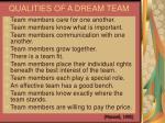 qualities of a dream team