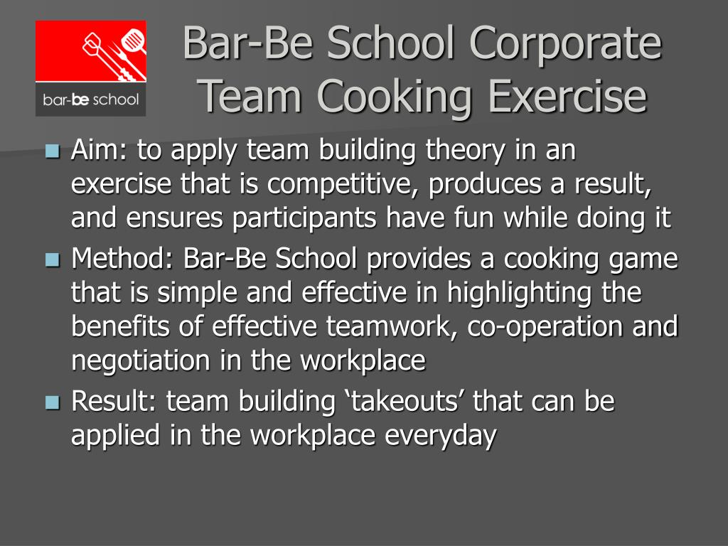 bar be school corporate team cooking exercise l.