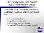 hbr safety excellence awards audit team member duties