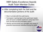 hbr safety excellence awards audit team member duties7