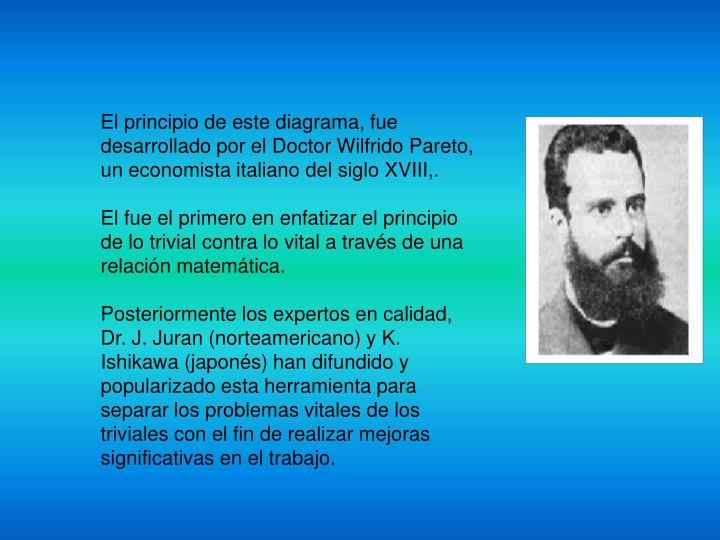 El principio de este diagrama, fue desarrollado por el Doctor Wilfrido Pareto, un economista italian...
