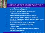 causes of low sugar recovery
