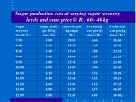 sugar production cost at varying sugar recovery levels and cane price @ rs 60 40 kg