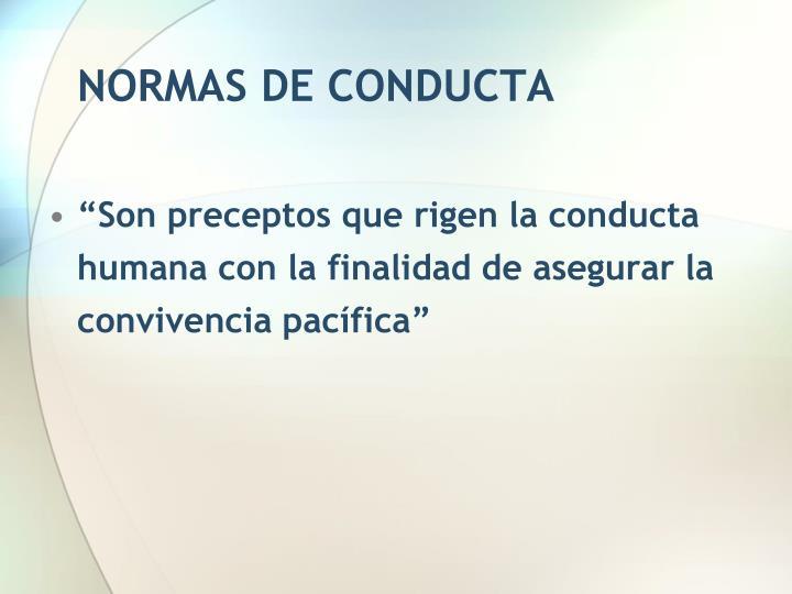NORMAS DE CONDUCTA