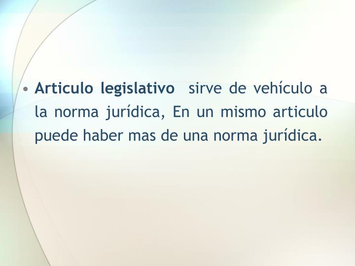 Articulo legislativo