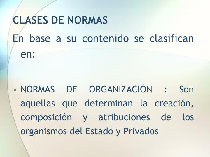 CLASES DE NORMAS