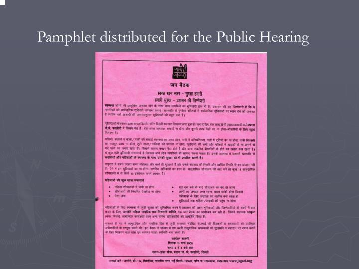 Pamphlet distributed for the Public Hearing