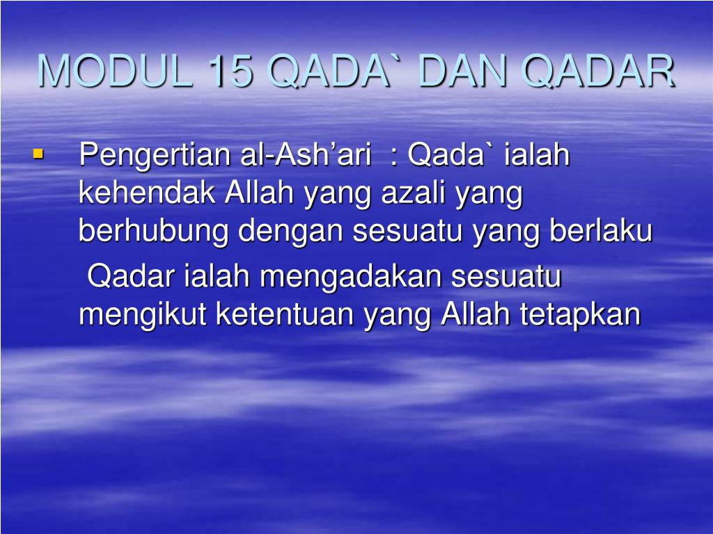 Ppt Modul 15 Qada Dan Qadar Powerpoint Presentation Id 904089