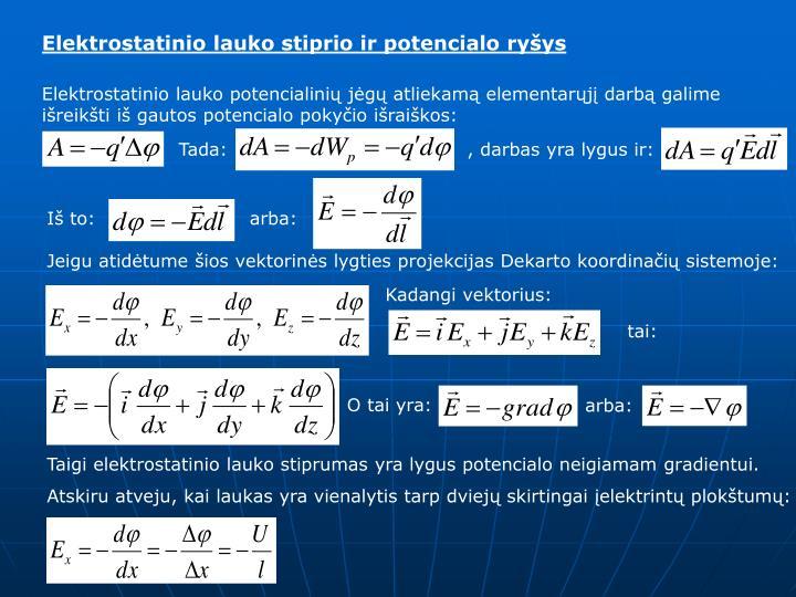Elektrostatinio lauko stiprio ir potencialo ryšys